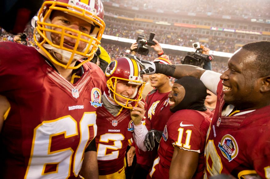 Washington Redskins kicker Kai Forbath (2) kicks a 34 yard field goal in overtime to defeat the Baltimore Ravens 31-28 at Fedex Field, Landover, Md., Sunday, December 9, 2012. (Andrew Harnik/The Washington Times)