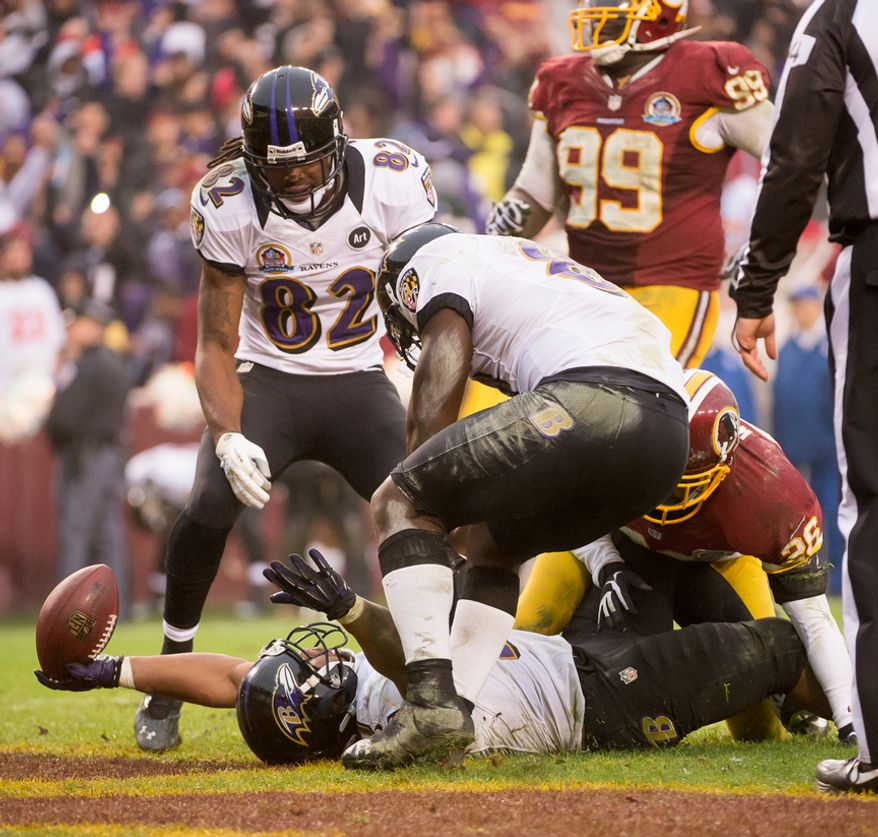 Baltimore Ravens running back Ray Rice (27) scores on a 7 yard rush in the fourth quarter as the Washington Redskins play the Baltimore Ravens at Fedex Field, Landover, Md., Sunday, December 9, 2012. (Andrew Harnik/The Washington Times)