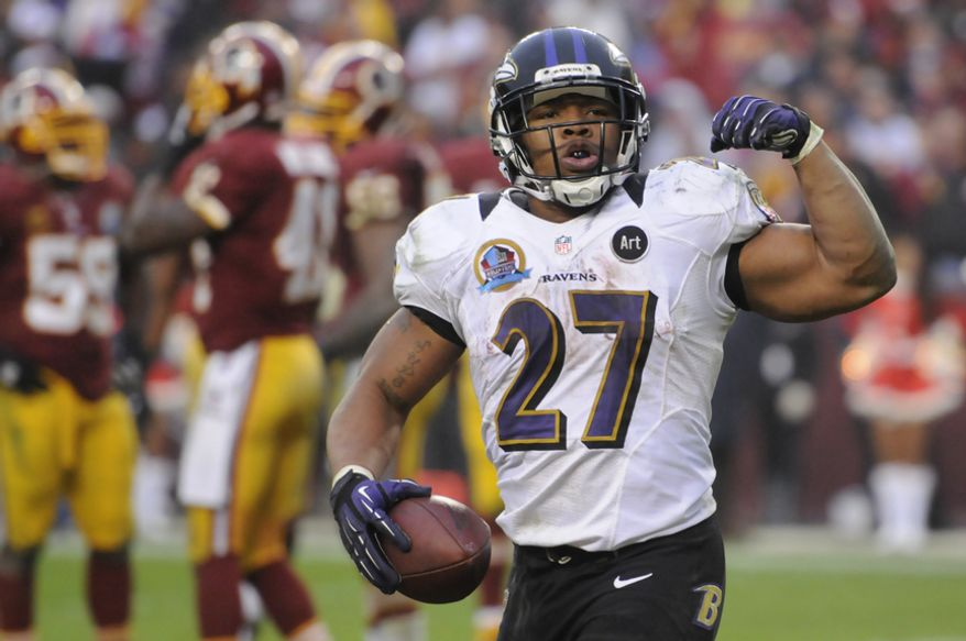 Baltimore Ravens running back Ray Rice (27) celebrates his 7-yard touchdown run in the fourth quarter at FedEx Field, Landover, Md., Dec. 9, 2012. (Preston Keres/Special to The Washington Times)