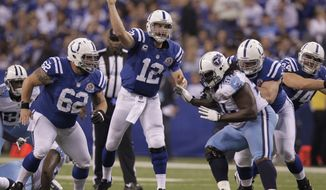 Indianapolis Colts' Andrew Luck (12) throws during the second half of an NFL football game against the Tennessee Titans Sunday, Dec. 9, 2012, in Indianapolis. (AP Photo/Michael Conroy)