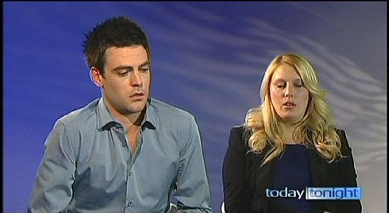 In this image made from video footage recorded on Monday, Dec. 10, 2012, and aired later in the day by Australia's Channel Seven, Australian radio disc jockeys Michael Christian (left) and Mel Greig appear during an interview with the TV station. The two managed to impersonate Queen Elizabeth II and Prince Charles and received confidential information about the Duchess of Cambridge's medical condition, which was broadcast on air. (AP Photo/Channel Seven)