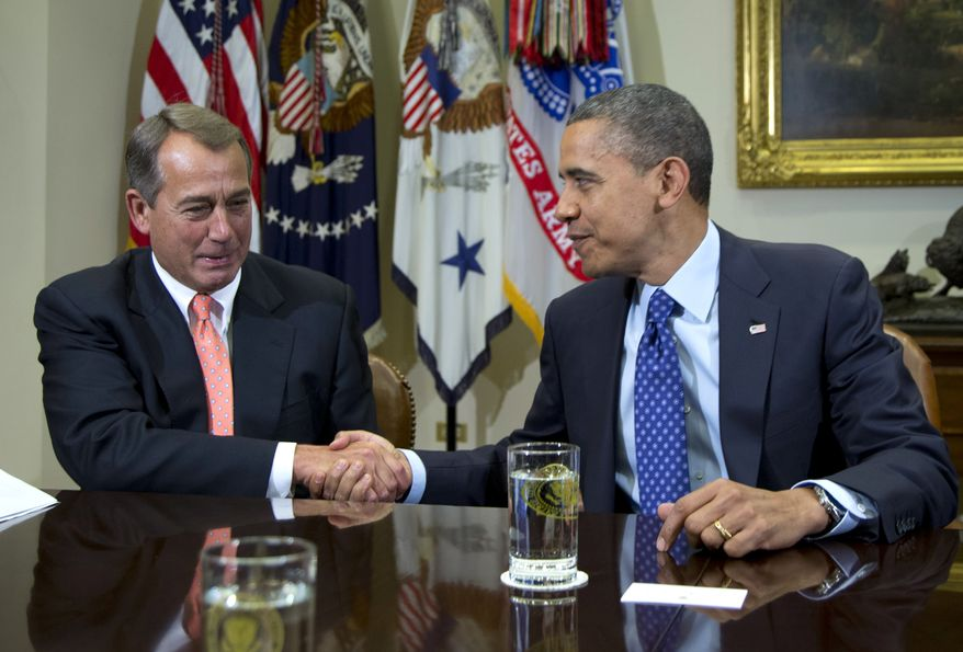 **FILE** President Obama shakes hands with House Speaker John Boehner, Ohio Republican, in the Roosevelt Room of the White House in Washington on Nov. 16, 2012, during a meeting to discuss the deficit and economy. (Associated Press)