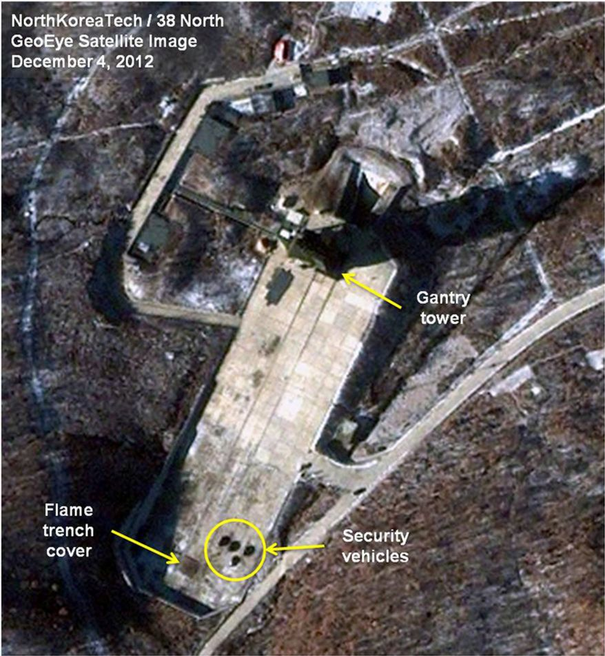 **FILE** This satellite image taken by GeoEye and annotated and distributed by North Korea Tech and 38 North shows the Sohae Satellite Launching Station in Tongchang-ri, North Korea, on Dec. 4, 2012. This image was shared with the AP by the 38 North and North Korea Tech websites, which collaborate on analysis of the satellite imagery. (Associated Press/GeoEye via North Korea Tech and 38 North)
