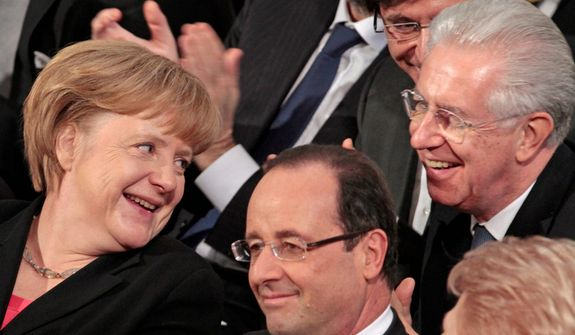 German Chancellor Angela Merkel (left) talks with Italy's Prime Minister Mario Monti (right) and French President Francois Hollande during the Nobel Peace Prize ceremony at the City Hall in Oslo on Dec. 10, 2012. (Associated Press)