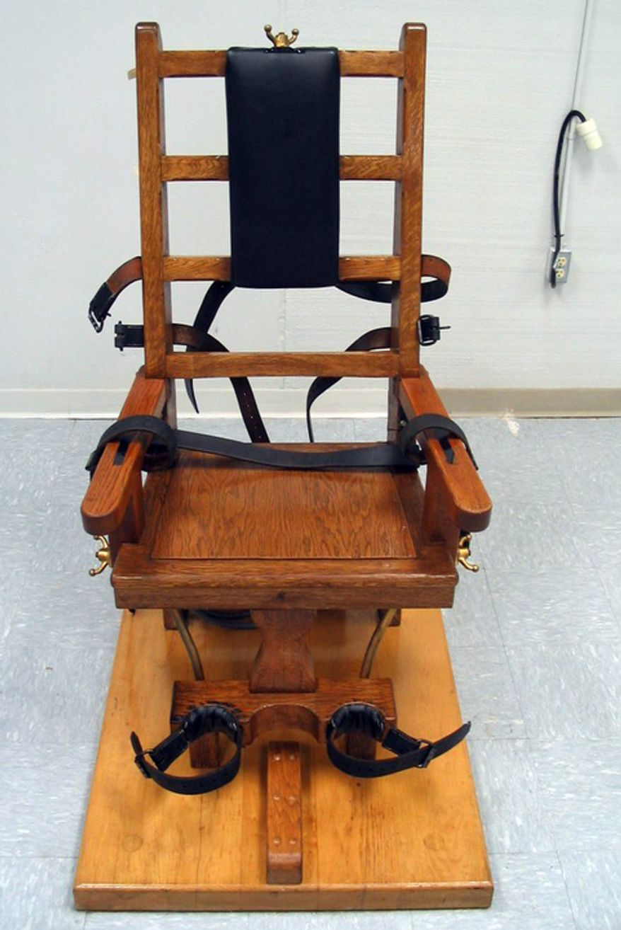 **FILE** This photo provided by the Virginia Department of Corrections shows the electric chair used in the July 20, 2006, execution of death row inmate Brandon Wayne Hedrick, who chose the electric chair as his method of execution rather than lethal injection. Hedrick was convicted of the 1997 abduction, robbery, rape and murder of Lisa Crider. (Associated Press/Virginia Department of Corrections)