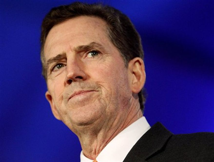 ** FILE ** In this June 17, 2011 photo, Sen. Jim DeMint, South Carolina Republican, speaks in New Orleans. DeMint announced Dec. 6, 2012, that he is resigning to take over at Heritage Foundation. (AP Photo/Patrick Semansky)