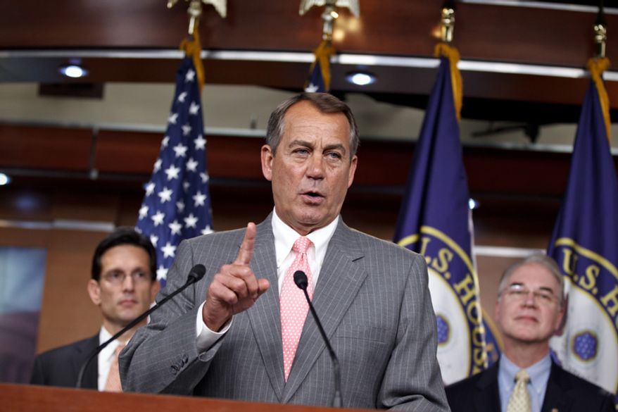 House Speaker John A. Boehner (center), Ohio Republican — flanked by House Majority Leader Eric Cantor (left), Virginia Republican, and Rep. Tom Price, Georgia Republican — speaks during a news conference on Capitol Hill in Washington on Thursday, June 28, 2012, after the Supreme Court's ruling on the Affordable Care Act. (AP Photo/J. Scott Applewhite)