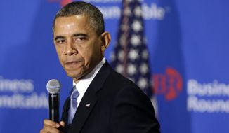 **FILE** President Obama speaks Dec. 5, 2012, about the fiscal cliff at the Business Roundtable, an association of chief executive officers, in Washington. (Associated Press)
