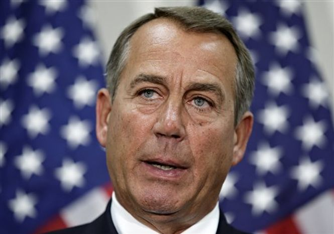 ** FILE ** Speaker of the House John Boehner, Ohio Republican, speaks to reporters at the U.S. Capitol in Washington, Wednesday, Nov. 28, 2012. (AP Photo/J. Scott Applewhite)