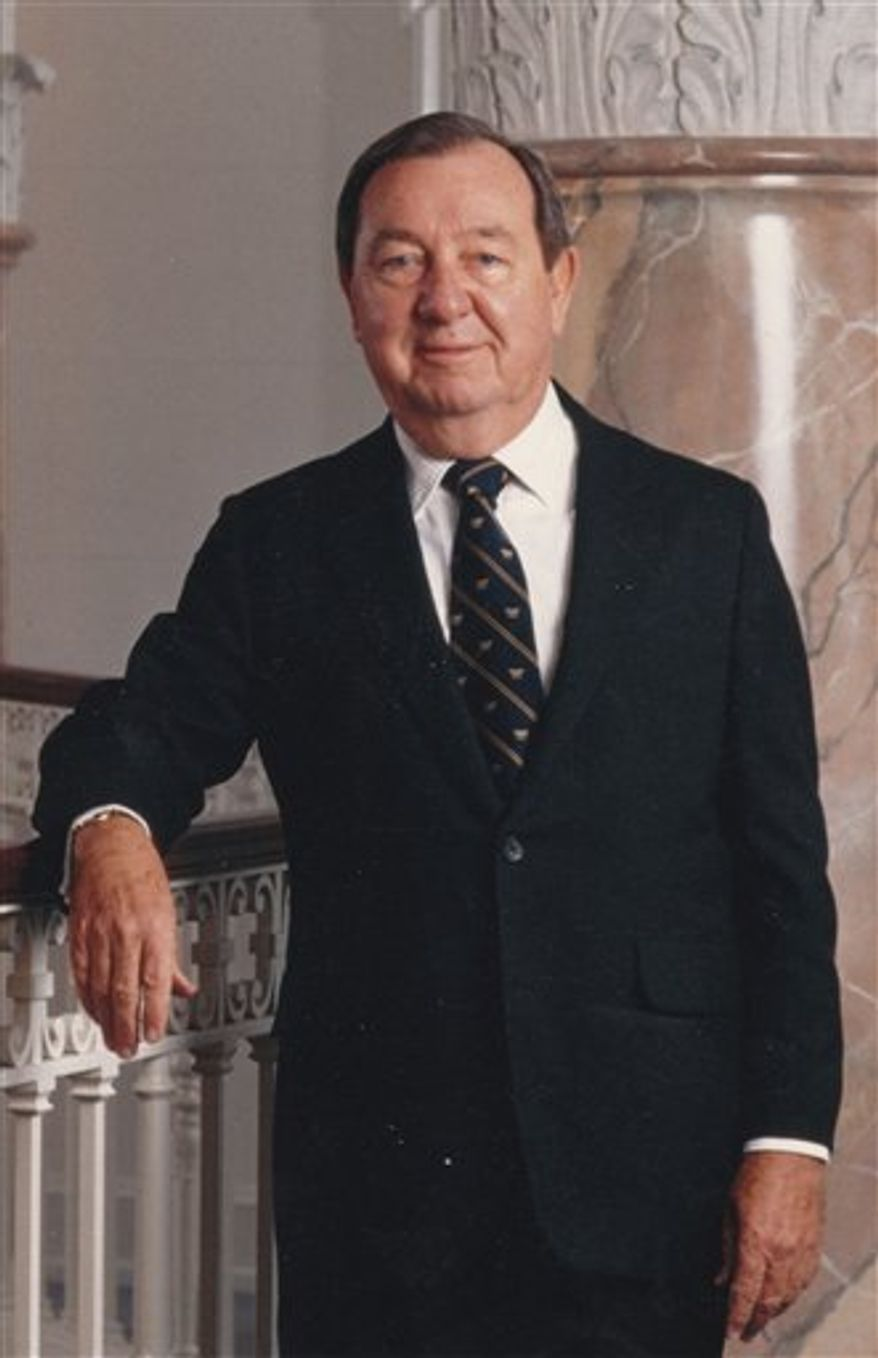 This image released by ABC7/WJLA-TV and News Channel 8, shows Joe Allbritton, founder of Allbrittion Communications. Allbritton, who became one of Washington's most influential men by building media and banking empires, died at the age of 87, on Wednesday, Dec. 12, 2012, at a hospital in Houston, where he lived. His holdings include eight television stations, including WJLA, the ABC affiliate in Washington whose call letters bear his initials. (AP Photo/ABC7/WJLA-TV and News Channel 8)
