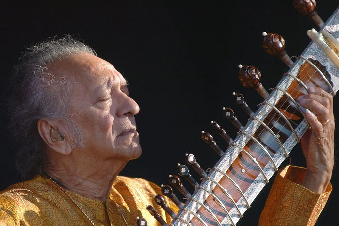 **FILE** Indian musician Ravi Shankar performs during the opening day of the Paleo Festival in Nyon, Switzerland, on July 19, 2005. (Associated Press/Keystone, Sandro Campardo)