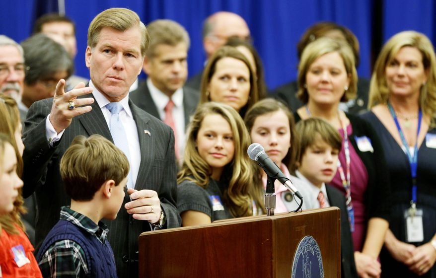 Virginia Gov. Bob McDonnell is looking to give 2 percent pay raises to public school teachers in exchange for increased flexibility to fire educators deemed incompetent on their performance reviews. (Associated Press)