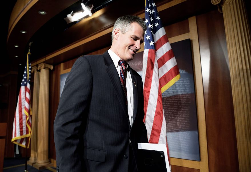 Sen. Scott P. Brown leaves town quietly after losing his re-election bid last month in Massachusetts. He delivered a farewell address to the Senate on Wednesday. (Associated Press)