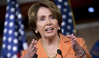 House Minority Leader Nancy Pelosi, California Democrat, speaks during a news conference on Capitol Hill in Washington on Dec. 13, 2012. (Associated Press)