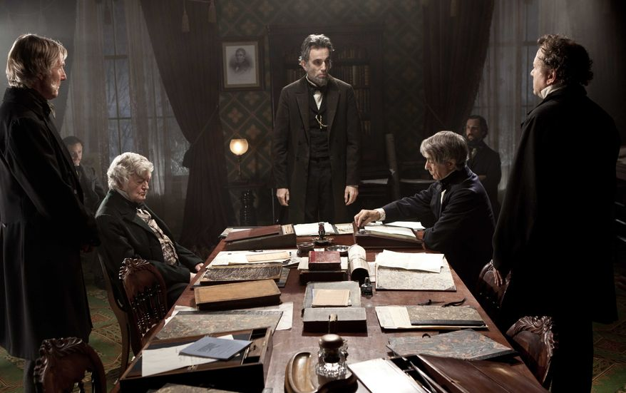 "Daniel Day-Lewis (center rear) stars as Abraham Lincoln in the Steven Spielberg film ""Lincoln."" (AP Photo/DreamWorks, Twentieth Century Fox, David James)"