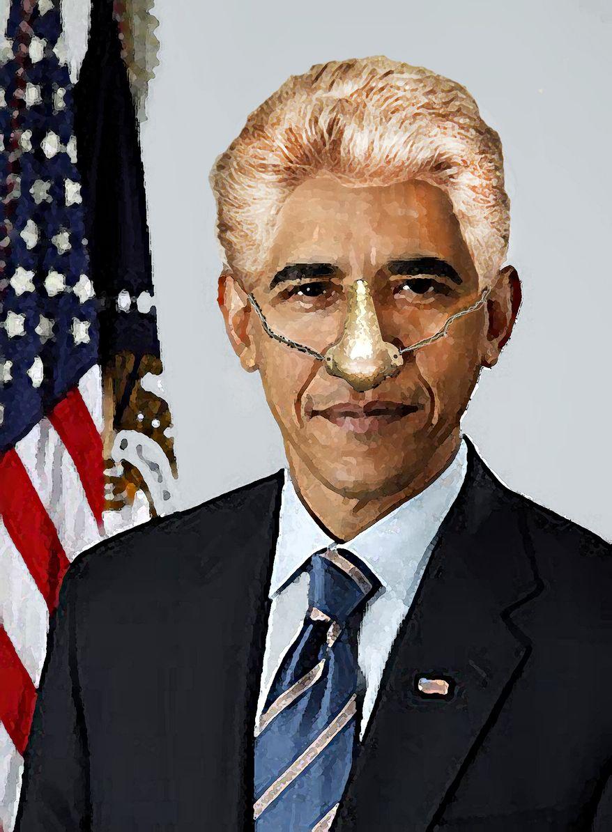 Illustration Obama-Clinton by John Camejo for The Washington Times