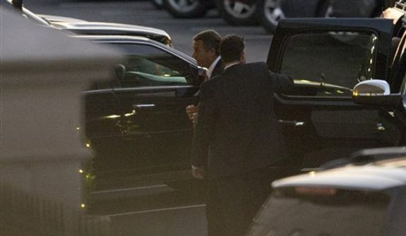 """Speaker of the House John Boehner, R-Ohio, left, arrives at the White House for a meeting with President Barack Obama, in Washington, on Thursday, Dec. 13, 2012.  With time growing short and no """"fiscal cliff"""" progress evident, President Barack Obama and Republican House Speaker John Boehner set face-to-face negotiations for late Thursday at the White House. (AP Photo/Jacquelyn Martin)"""