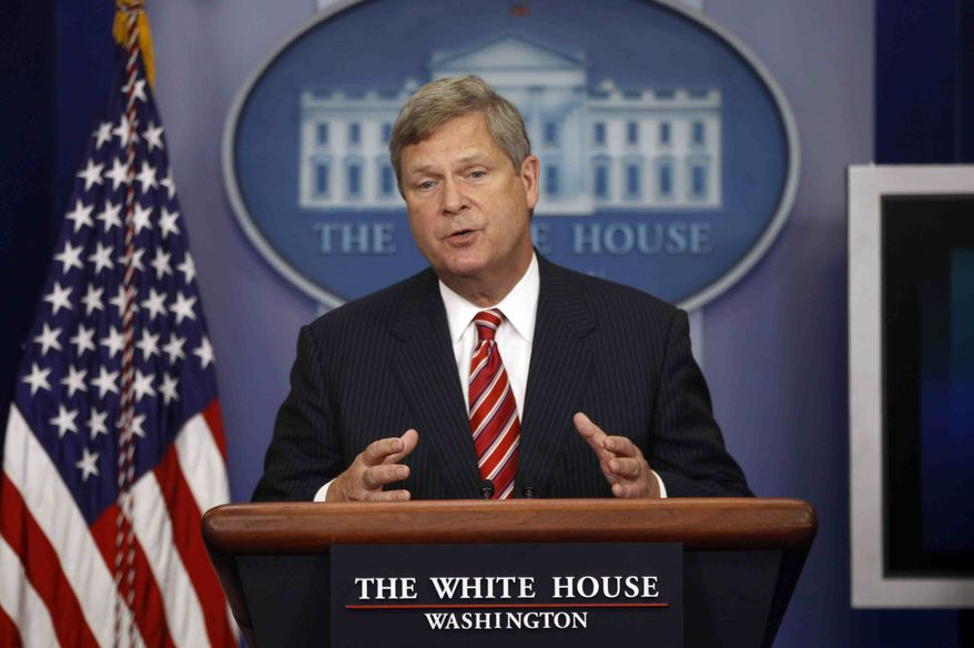 ** FILE ** In this July 18, 2012, file photo, Agriculture Secretary Tom Vilsack talks about the drought during a press briefing at the White House in Washington. The fear that federal crop insurance subsidies are becoming fertile ground for big spending cuts in negotiations over the so-called fiscal cliff has rural lawmakers and their leaders shopping for a compromise on a farm bill to protect them. (AP Photo/Charles Dharapak, File)
