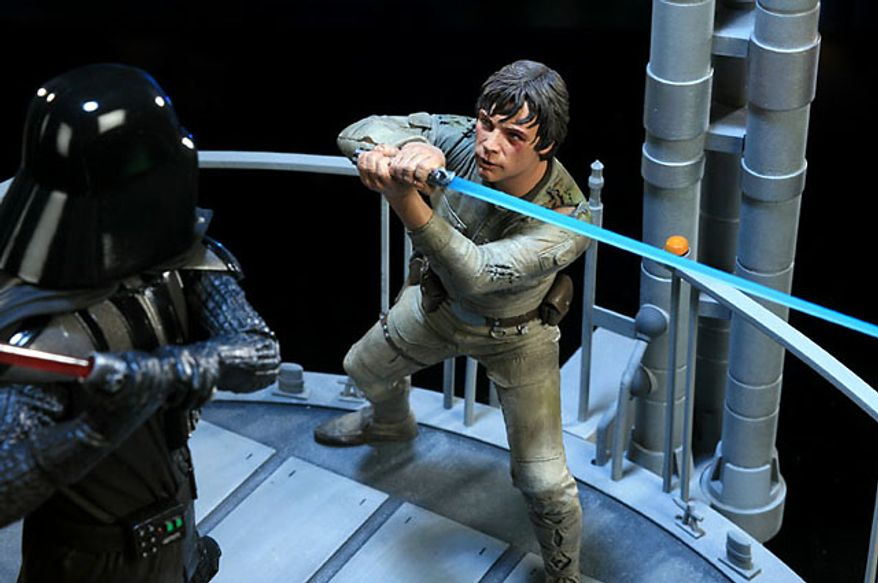 It's Luke Skywalker versus Darth Vader in Sideshow Collectibles I am Your Father polystone diorama. (Photograph courtesy Sideshow Collectibles)