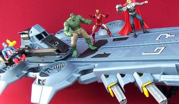 Captain America, Hulk, Iron Man and Thor aboard Hasbro's S.H.I.E.L.D Helicarrier. (Photograph by Joseph Szadkowski)