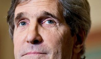 Senate Foreign Relations Committee Chairman John F. Kerry, Massachusetts Democrat, has been a trooper on foreign policy for President Obama, flying to Afghanistan and Pakistan many times to discuss diplomatic issues. (Associated Press)