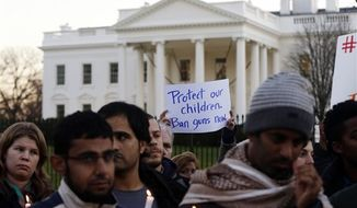 **FILE** Supporters of gun control gather on Pennsylvania Avenue in front of the White House on Dec. 14, 2012, during a vigil for the victims of the shooting at Sandy Hook Elementary School in Newtown, Conn., and to call on President Obama to pass strong gun control laws. (Associated Press)