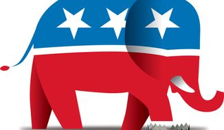 Illustration Republican Trap by Linas Garsys for The Washington Times