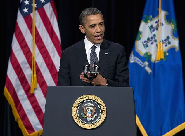 President Barack Obama speaks during an interfaith vigil for the victims of the Sandy Hook Elementary School shooting on Sunday, Dec. 16, 2012 at Newtown High School in Newtown, Conn.  A gunman walked into Sandy Hook Elementary School Friday and opened fire, killing 26 people, including 20 children.  (AP Photo/ Evan Vucci)