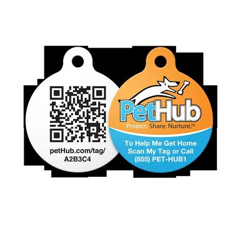 This undated image provided by PetHub shows a PetHub dog tag. If your dog gets lost, anyone can scan this tag on a cell phone using a QR (quick response) scanning app and immediately get access to the dog owner's name, address and phone number. Or if you don't have a phone, you can call a 24/7 number and report the found dog. (AP Photo/PetHub, Brian Seales)