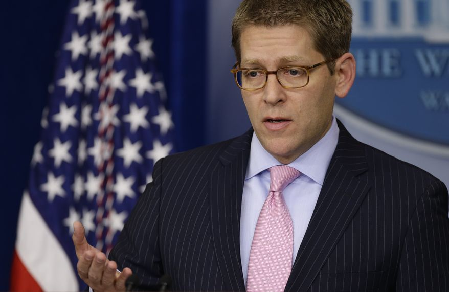 White House press secretary Jay Carney briefs reporters at the White House in Washington on Monday, Dec. 17, 2012. Mr. Carney said President Obama in the coming weeks will engage the American people and lawmakers on the issue of gun violence. (AP Photo/Charles Dharapak)