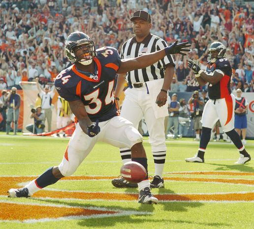 Reuben Droughns took over in the Broncos' backfield after Clinton Portis was traded and gained 1,240 yards during the 2004 season. Droughns was a third-round pick by the Lions in 2000. (Associated Press)
