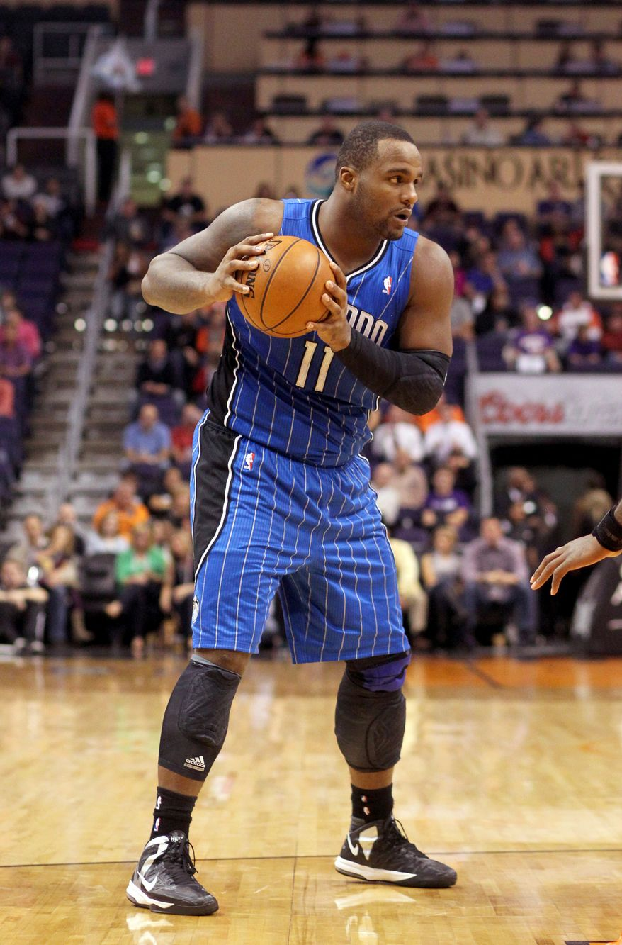 Orlando Magic's Glen Davis against the Phoenix Suns in an NBA basketball game Sunday, Dec. 9, 2012, in Phoenix. (AP Photo/Paul Connors)