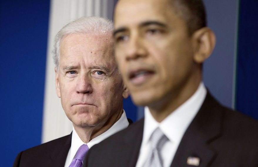 Vice President Joseph R. Biden listens as President Obama announces his assignment to head a task force to look into the causes of gun violence. Mr. Biden is to consult Cabinet officials and outside groups and submit proposals to the president by the end of January. (Associated Press)