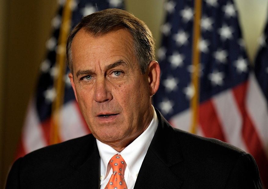 "House Speaker John A. Boehner, Ohio Republican, addresses reporters on the ""fiscal cliff"" negotiations on Capitol Hill in Washington on Wednesday, Dec. 19, 2012. (AP Photo/Susan Walsh)"