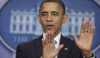 ** FILE ** President Barack Obama speaks about negotiations regarding the fiscal cliff as he takes questions from reporters, Wednesday, Dec. 19, 2012, at the White House in Washington. (AP Photo/Charles Dharapak)