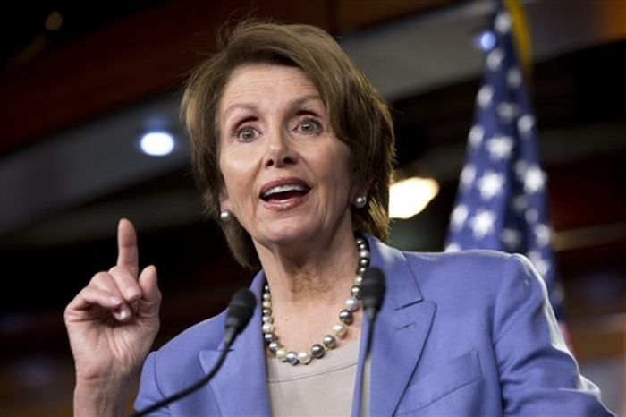 House Democratic Leader Nancy Pelosi of California, speaks at a news conference on the fiscal cliff negotiations on Capitol Hill, Wednesday, Dec. 19, 2012. (AP Photo/Jacquelyn Martin)