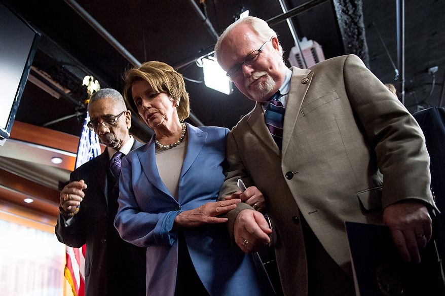 Left to right: Reps. Bobby L. Rush (D-Ill.), House Minority Leader Nancy Pelosi (D-Calif.), and Ron Barber (D-Ariz.), who was wounded in the same shooting as his former boss, Gabrielle Giffords, leave together after holding a news conference about banning high capacity ammunition clips with other House Democrats in the House Visitors Center on Capitol Hill, Washington, D.C., Wednesday, December 19, 2012. (Andrew Harnik/The Washington Times)