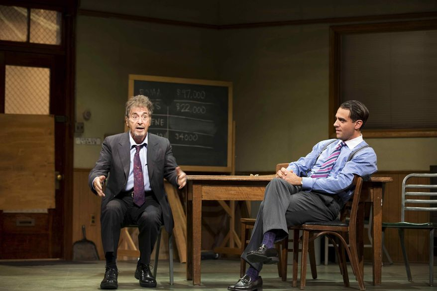 "** FILE ** This undated publicity file photo provided by Jeffrey Richards Associates shows Al Pacino, left, and Bobby Cannavale, in a scene from ""Glengarry Glen Ross"" at the Gerald Schoenfeld Theatre in New York. (AP Photo/Jeffrey Richards Associates, File)"
