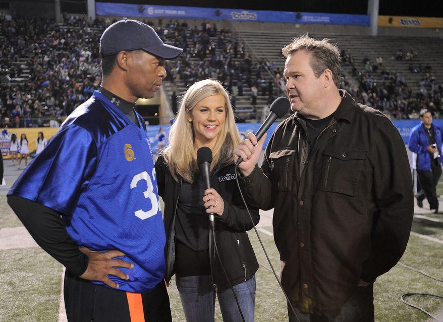 ESPN reporter Samantha Steele (center) married Vikings quarterback Christian Ponder on Monday. (Associated Press)