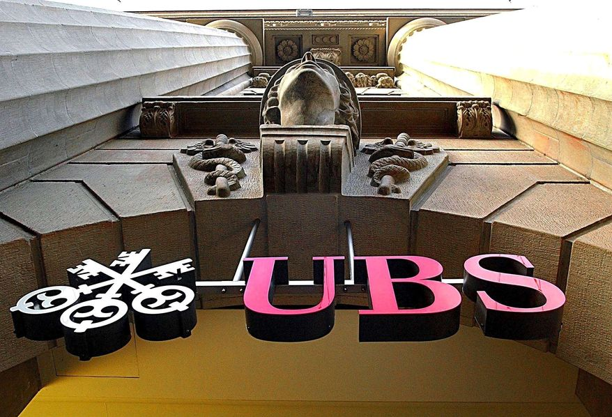 The logo of the Swiss bank UBS is seen in Zurich in 2001. (AP Photo/Keystone, Steffen Schmidt)