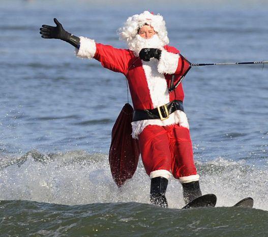 Holiday: Water-skiing Santa