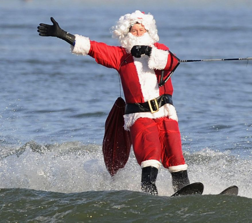 Holiday: Water-skiing Santa