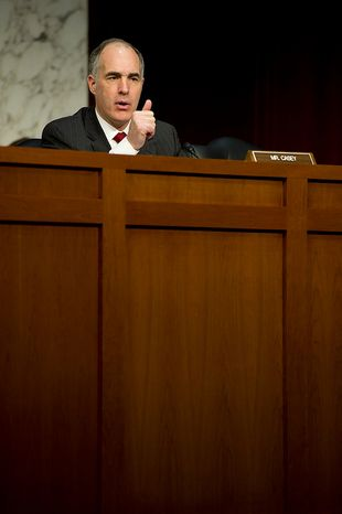 Sen. Robert Casey (D-Penn.), a member of the Senate Foreign Relations Committee, asks questions during a hearing Thursday, Dec. 20, 2012 on the Benghazi attack. William J. Burns, deputy secretary of state, and Thomas R. Nides, deputy secretary of  state for management and resources, were witnesses. (Barbara L. Salisbury/The Washington Times)