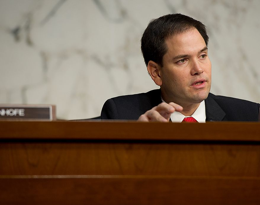 Sen. Marco Rubio (R-Fla.), a member of the Senate Foreign Relations Committee, asks questions during a hearing Thursday, Dec. 20, 2012 on the Benghazi attack. William J. Burns, deputy secretary of state, and Thomas R. Nides, deputy secretary of  state for management and resources, were witnesses. (Barbara L. Salisbury/The Washington Times)