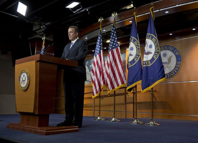 Speaker of the House John A. Boehner during a press conference regarding negotiations on the fiscal cliff at the U.S. Capitol on Thursday, Dec. 20, 2012. (Barbara L. Salisbury/The Washington Times)