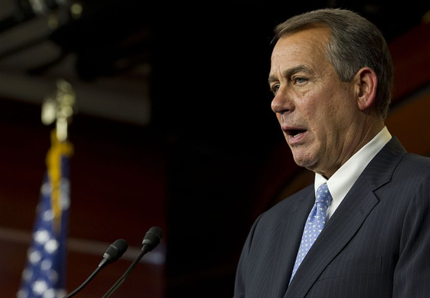 """** FILE ** House Speaker John A. Boehner told the media, """"I did my part,"""" during a press conference on negotiations on the """"fiscal cliff"""" at the U.S. Capitol on Thursday, Dec. 20, 2012. (Barbara L. Salisbury/The Washington Times)"""
