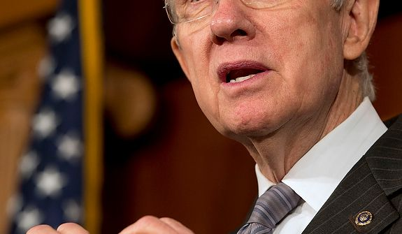 Senate Majority Leader Sen. Harry Reid, D-Nev., speaks to the media about the fiscal cliff at the U.S. Capitol in Washington, on Thursday, Dec. 20, 2012. (AP Photo/Jacquelyn Martin)