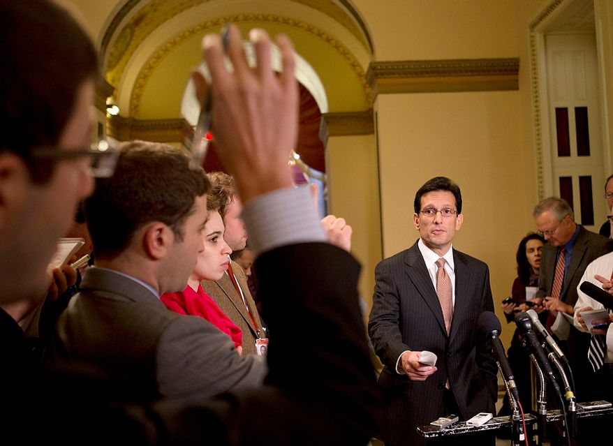 """House Majority Leader Rep. Eric Cantor, R-Va., calls on a reporter during a news conference about the fiscal cliff and """"Plan B,"""" at the U.S. Capitol in Washington, on Thursday, Dec. 20, 2012. (AP Photo/Jacquelyn Martin)"""