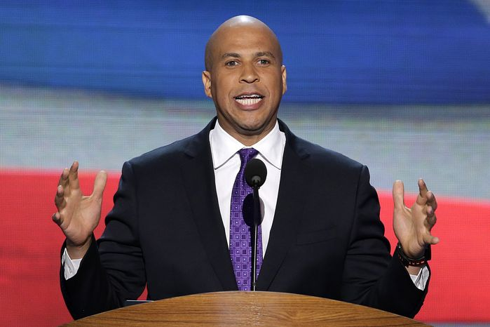 ** FILE ** Newark, N.J., Mayor Cory Booker addresses the Democratic National Convention in Charlotte, N.C., on on Sept. 4, 2012. (Associated Press)