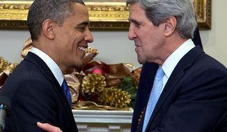 ** File ** President Obama looks to Sen. John F. Kerry, Massachusetts Democrat, after announcing Mr. Kerry's nomination as the next secretary of state in the Roosevelt Room of the White House on Dec. 21, 2012, in Washington. (Associated Press)
